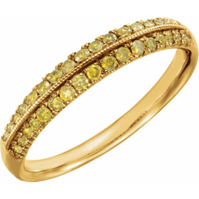 14K Yellow 1/3CTW Yellow Diamond Wedding Band