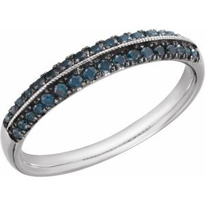 14K White 1/3CTW Blue Diamond Wedding Band