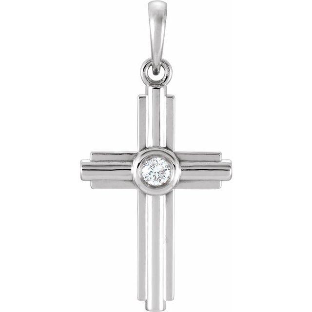 14K White .06 CTW Diamond Cross Pendant