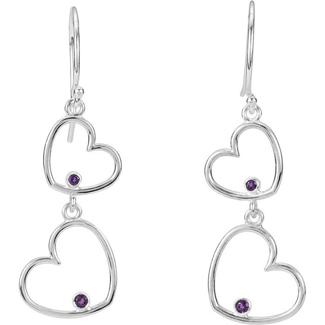 Sterling Silver Amethyst Double Heart Earrings