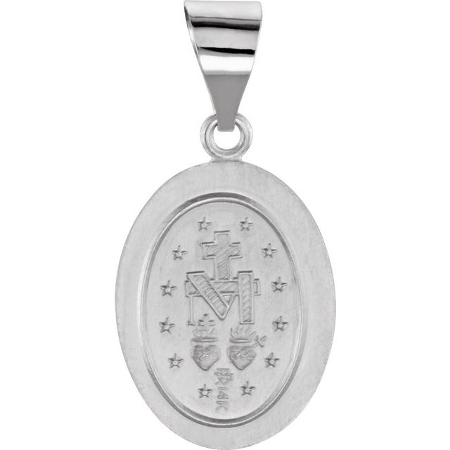 14K White 15x11.5 mm Oval Hollow Miraculous Medal
