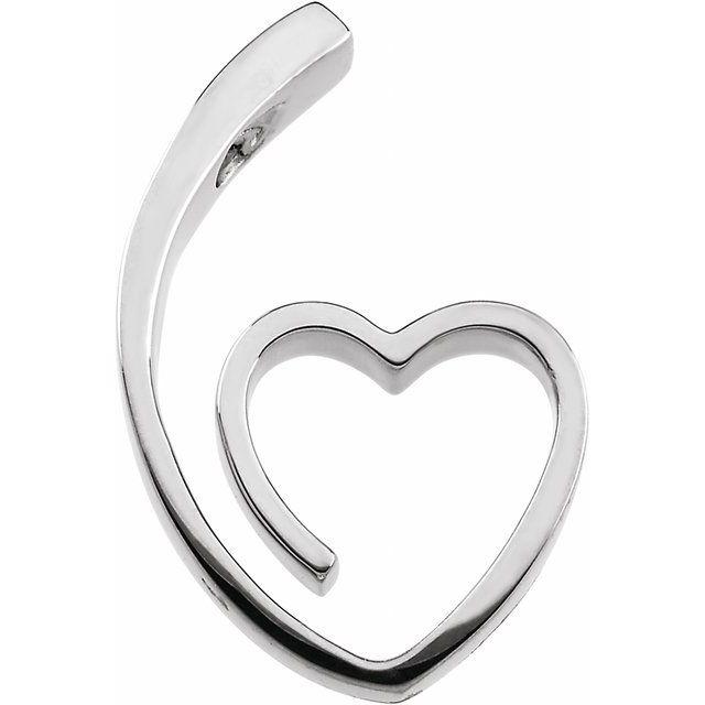 Sterling Silver 25x15.5 mm Heart Slide Pendant