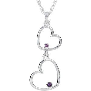 "Sterling Silver Amethyst Double Heart 18"" Necklace"