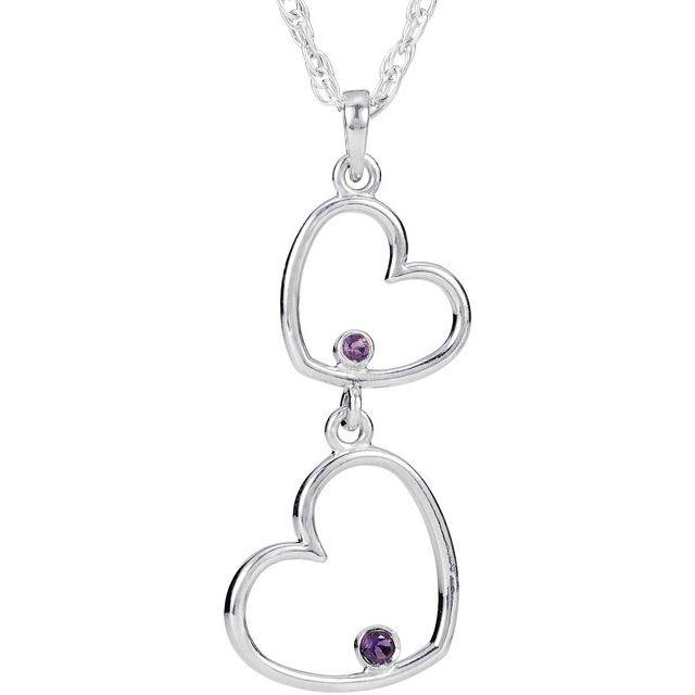 Sterling Silver Amethyst Double Heart 18