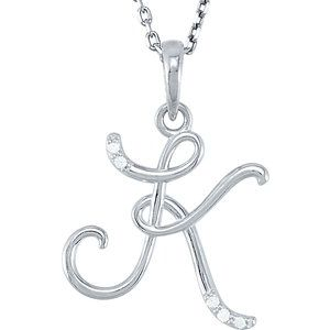 "Sterling Silver .03 CTW Diamond Initial K 18"" Necklace"