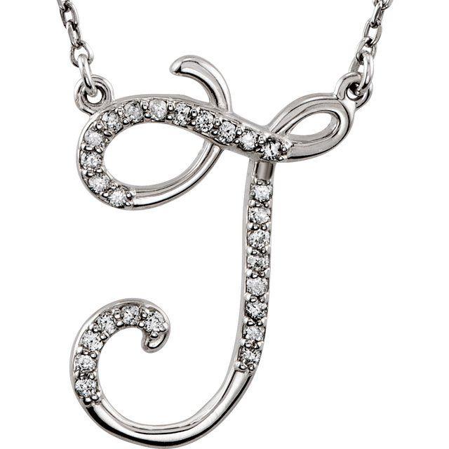 Sterling Silver 1/8 CTW Diamond Initial J 16