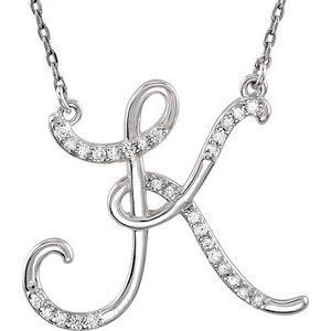 "Sterling Silver 1/6 CTW Diamond Initial K 16"" Necklace"
