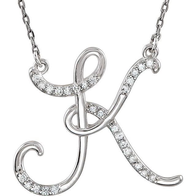 Sterling Silver 1/6 CTW Diamond Initial K 16