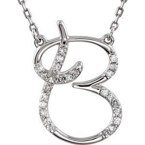 "Sterling Silver 1/8 CTW Diamond Initial B 16"" Necklace"