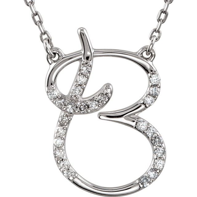 Sterling Silver 1/8 CTW Natural Diamond Initial B 16