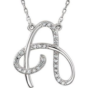 "Sterling Silver 1/8 CTW Diamond Initial A 16"" Necklace"