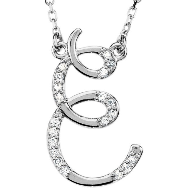 Sterling Silver .08 CTW Natural Diamond Initial E 16