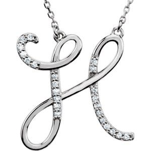 "Sterling Silver 1/8 CTW Diamond Initial H 16"" Necklace"