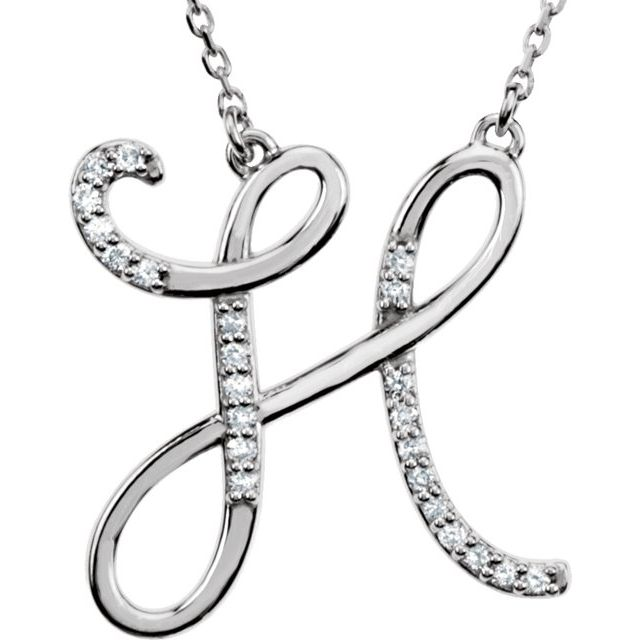 Sterling Silver 1/10 CTW Diamond Initial H 16