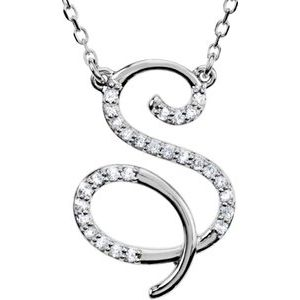 "Sterling Silver 1/6 CTW Diamond Initial S 16"" Necklace"