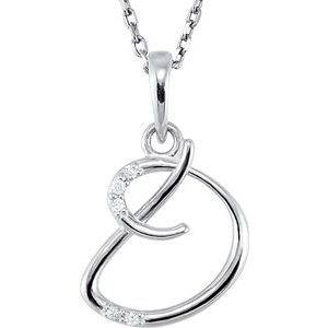 "Sterling Silver .03 CTW Diamond Initial D 18"" Necklace"
