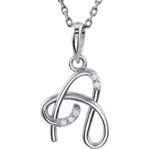 "14K White .025 CTW Diamond Initial A 18"" Necklace"