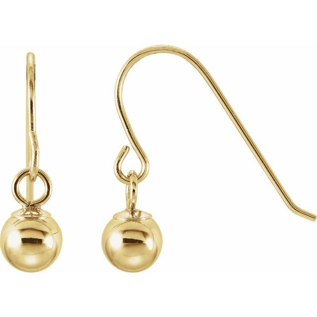 14K Yellow 4 mm Ball Earrings
