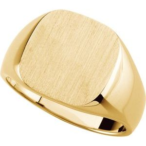 10K Yellow 14x14 mm Square Signet Ring