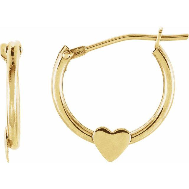 14K Yellow Hinged Hoop Earrings with Heart