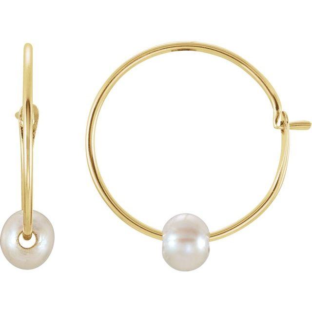14K Yellow Youth Freshwater Cultured Pearl Huggie Earrings