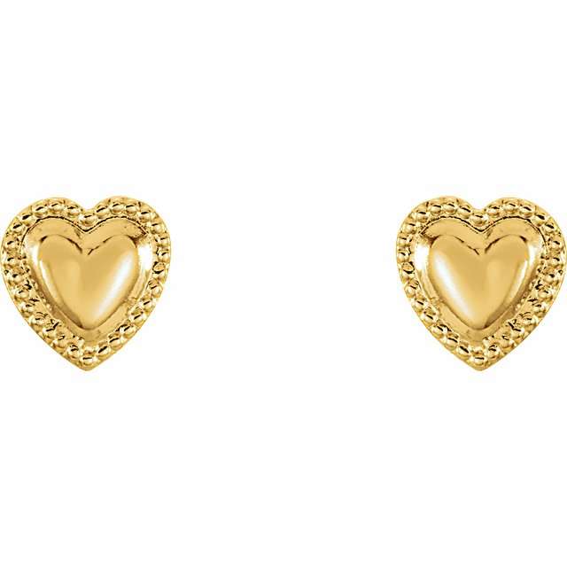 14K Yellow Heart Earrings