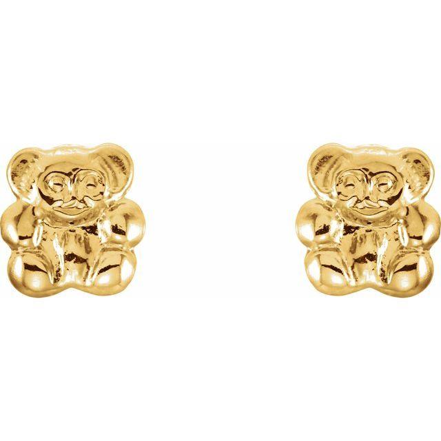 14K Yellow Teddy Bear Earrings