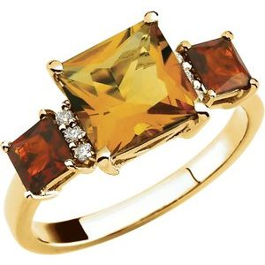 14K Yellow Citrine & .06 CTW Diamond Ring