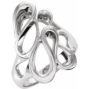 14K White 22 mm Freeform Ring