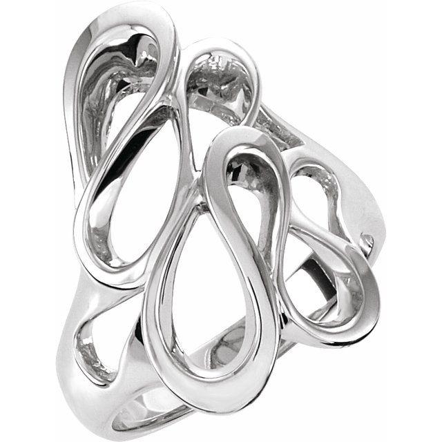 14K White 22 mm Freeform Ring