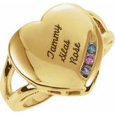 Family Engravable Heart Ring