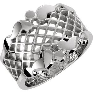 Sterling Silver 14.5 mm Latticework Band