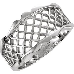 14K White Lattice Design Band