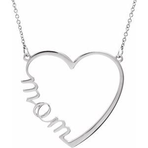 "14K White ""Mom"" Heart 17"" Necklace"