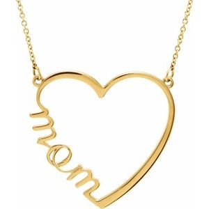 "14K Yellow ""Mom"" Heart 17"" Necklace"