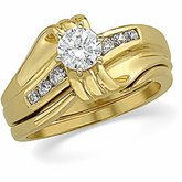 Accented Engagement Ring or Duo Band