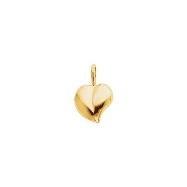 14K White 16x11 mm Heart Pendant
