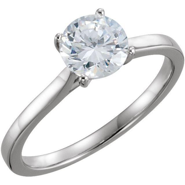 14K White 1 CTW Diamond Solitaire Engagement Ring
