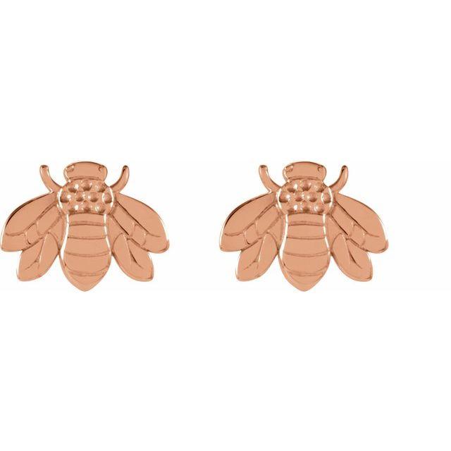 14K Rose Bumblebee Earrings
