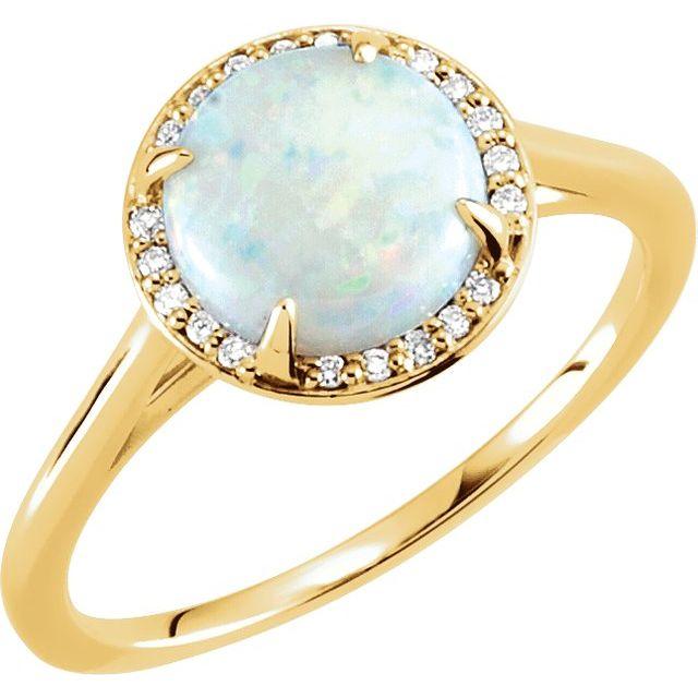 14K Yellow Opal & .05 CTW Diamond Ring