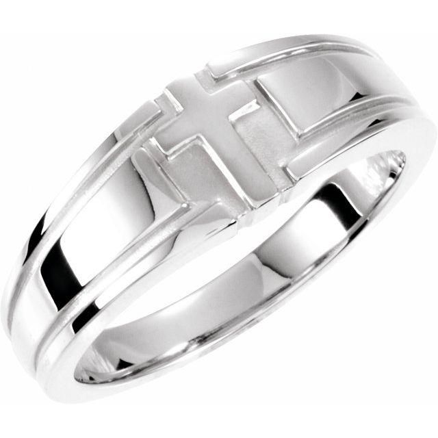 Sterling Silver 8 mm Grooved Cross Band Size 11