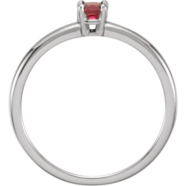 14K White Chatham®  Created Ruby