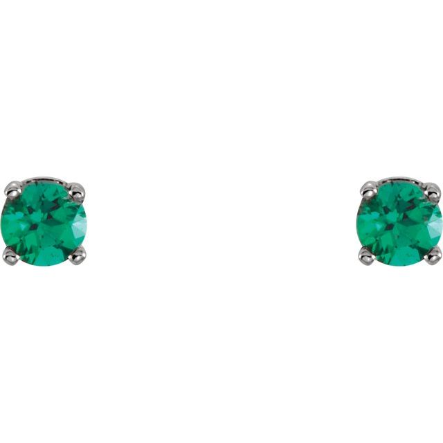14K White Lab-Grown Emerald Youth Earrings