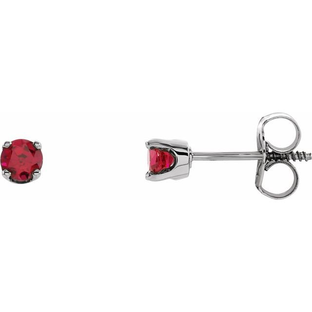 Sterling Silver 3 mm Round Imitation Ruby Youth Birthstone Earrings
