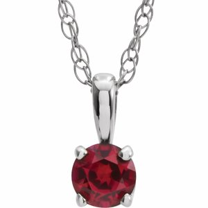 "14K White 3 mm Round July Genuine Ruby Youth Birthstone 14"" Necklace"
