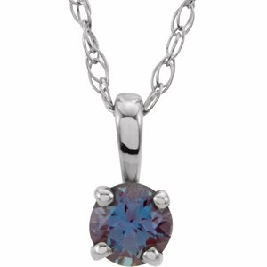 "14K White 3 mm Round June Imitation Alexandrite Youth Birthstone 14"" Necklace"