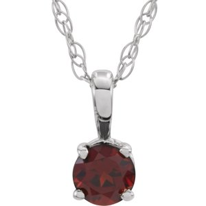 "14K White 3 mm Round Mozambique Garnet Youth Birthstone 14"" Necklace"