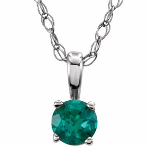 "Sterling Silver 3 mm Round Imitation Emerald Youth Birthstone 14"" Necklace"