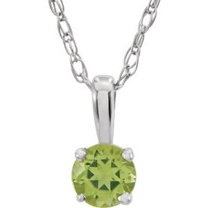"14K White 3 mm Round Peridot Youth Birthstone 14"" Necklace"
