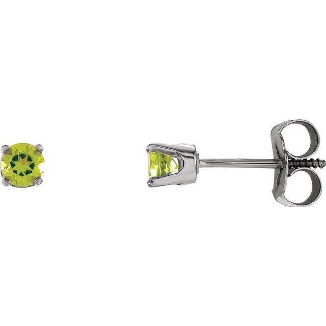 14K White 3 mm Round Peridot Youth Birthstone Earrings